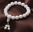 10mm jednonicioweego Rzeźbione Lotus Biały Sea Shell zroszony elastyczna bransoletka z koralików różana / modlitewne