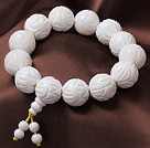 16mm Single Strand Carved Lotus White Sea Shell Beaded Elastic Bracelet with Rosary/ Prayer Beads