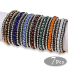Amazing 7 stk Single Strand facetslebet flerfarve Crystal Beaded Læder Armbånd mindre end 30 euros