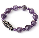 Amazing Simple Style Single Strand Faceted Amethyst Beads Bracelet with Accessory