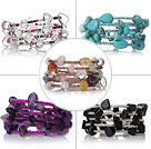 5 pcs Beautiful Multi Layer Multi Color Wrapped Gemstone and Crystal Stretch Bracelets