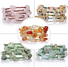 5 pcs Beautiful Multi Layer Multi Color Wrapped Gemstone and Crystal Elastic Bracelets
