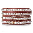 Popular Style Multi Strands Round White Acrylic Pearl Beaded Bracelet with Leather