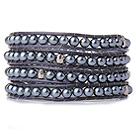 Popular Style Multi Strands Round Black Acrylic Pearl Beads Bracelet with Grey Leather