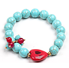 Simple Style Single Strand Blue Turquoise Beads Bracelet (Heart Charm is not fixed )