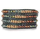 Estilo Popular multi fios dourados e verde sintético de cristal bracelete frisado com couro verde
