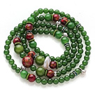 Newly Amazing Multi Strands Round Dark Green Jade and Glaze Beads Bracelet