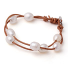 Trendy Lovely Design 2 Strands White Freshwater Pearl Bracelet with Brown Leather