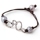 Trendy Simple Style Single Strand Grey Freshwater Pearl Leather Bracelet with Charm