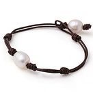 Trendy Simple Style Single Strand White Pearl Zoetwater Lederen Armband