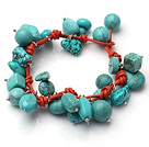 Summer Fashion Turquoise Charm Bracelet With Orange Leather