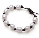 Fashion 10-11mm Natural Freshwater White Pearl Leather Bracelet