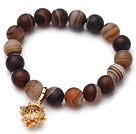 Vintage Frosted Banded Agate Beads Elastic Bracelet With Golden Amulet Charm