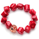 Hipanema Irregular Shape Red Coral Elastic Bracelet With Golden Ball under $ 40