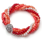 Amazing Multi Strand Twisted Natural White Pearl Red and Orange Coral Elastic Bracelet With Silver Ball