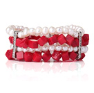 Amazing Multi Layer Natural White Pearl Cube Shape Red Coral Armbånd Armbånd