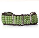 Beautiful Green Jade-like Crystal Bangle Braceelt with Dark Brown Leather