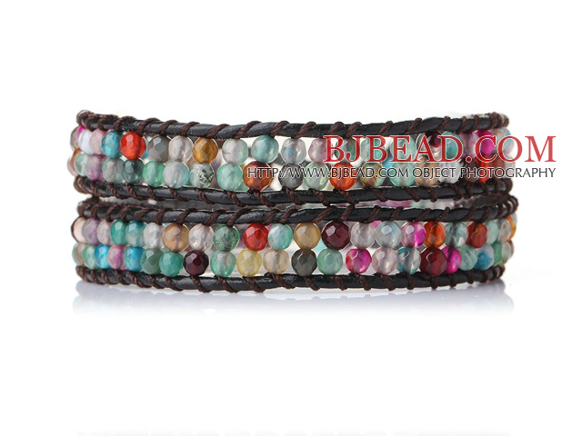 Beautiful Multi Color Faceted Agate Leather Bangle Bracelet