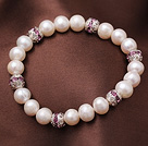 8-9mm Natural Freshwater Pearl Elastic Bracelet With Rhinestone Ball
