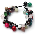 Summer Fashion Multi Color multi bolas de piedra Negro Pulsera de cuero
