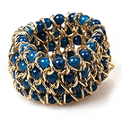 Wide Bracelet Multi Layer Blue Agate and Metal Chain Stretch Bangle Bracelet
