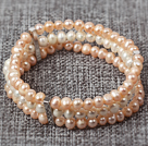 Three Layer 5-6mm Natual Pink and White Freshwater Pearl Stretch Bangle Bracelet