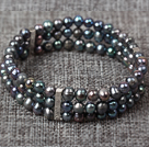 Three Layer 5-6mm Natual Black Freshwater Pearl Stretch Bangle Bracelet