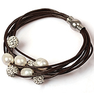 Multi Strands 10-11mm White Pearl and Rhinestone Leather Bracelet with Magnetic Clasp