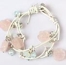 Rose Quartz Carved Flower and Crystal Leather Bracelet with Metal Clasp