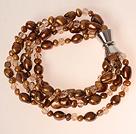 Multi Sploty Coffee Brown Pearl słodkowodne serii Kryształ Bransoletka z zapięciem magnetycznym