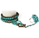 Vintage Style Turquoise Bracelet and Ring ( Adjustable Bracelet )