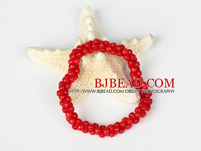 Red Coral 5*8mm Beads Bangle Bracelet
