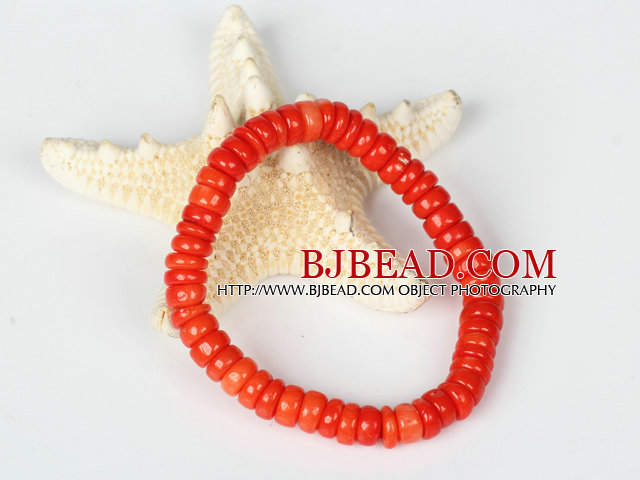 Red Coral Abacus Beads Stretch Bracelet
