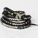 Fashion Style Wrap Bangle Armband Black Crystal en Nickle Gratis Metalen Kralen Verpakt Bracelet