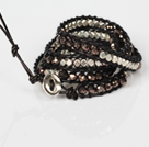 Fashion Wrap Bangle Bracelet Crystal and Nickle Free Metal Beads Wrapped Bracelet