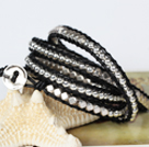 Fashion Style Wrap Bangle Armband Crystal en Nickle Gratis Metalen Kralen Verpakt Bracelet