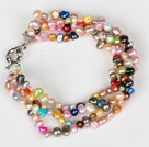 Multi Strands 3-4mm Multi Color Freshwate Pearl Bracelet with Moonligth Clasp