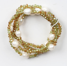 Cristal Blanco y Jade Crystal Stretch Bangle pulsera