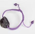 Amethyst Raw Stone Weaving Bracelet with Adjustable Thread