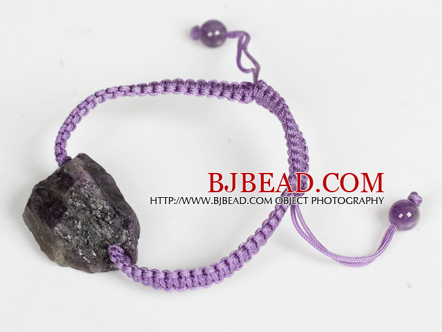 Amethyst Raw Stone Weaving Bracelet with Adjustable Thread