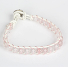 6mm Rose Quartz Leather Armband met metalen gesp