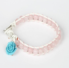 Pink Jade Leather Bracelet with White Leather and Metal Clasp