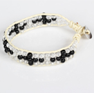 Three Rows Black Agate and Clear Crystal Leather Bracelet with Metal Clasp