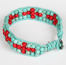 Three Rows Turquoise and Alaqueca Leather Bracelet with Metal Clasp