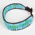 Three Rows Faceted Green Agate and Blue Jade Leather Bracelet with Metal Clasp under $ 40