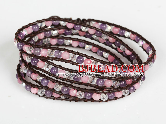 Amethyst and Pink Jade and Clear Crystal Four Times Wrap Bangle Bracelet
