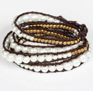 Immitation Pearl and Copper Beads Wrap Bangle Bracelet