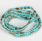 Lake Blue Crystal and Copper Beads Four Times Wrap Bangle Bracelet