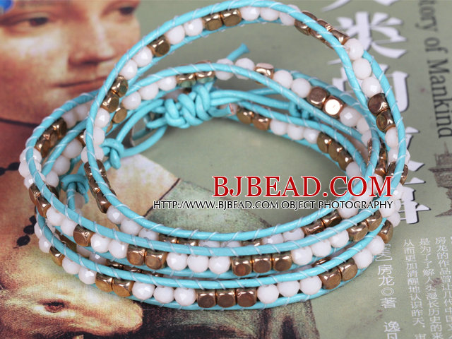 White Crystal and Copper Beads Four Times Wrap Bangle Bracelet