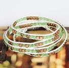 Lichtgroen Kristal en Koperen kralen vier Keer Wrap Bangle Armband